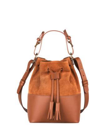 bolsa feminina meja de couro e camurça caramelo da escudero