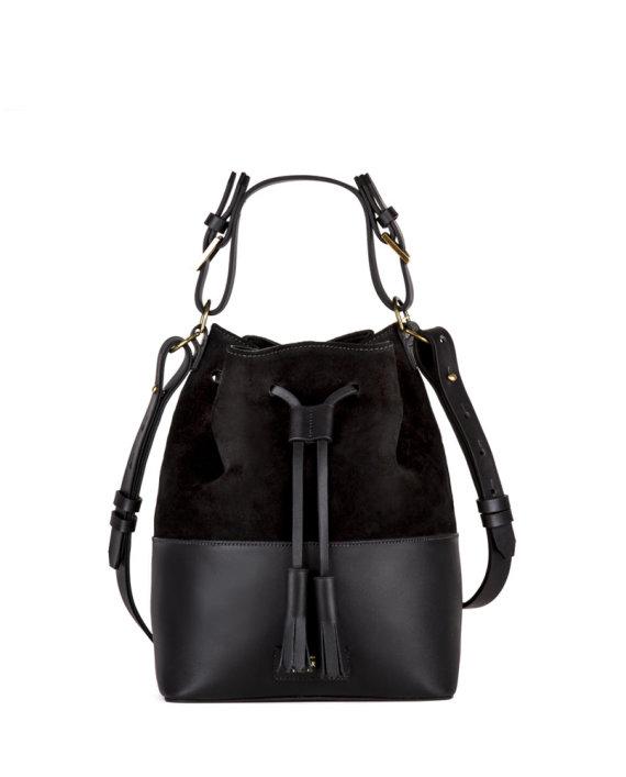 bolsa feminina meja de couro e camurça preto da escudero