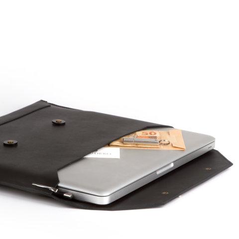 laptop case de couro preto da escudero