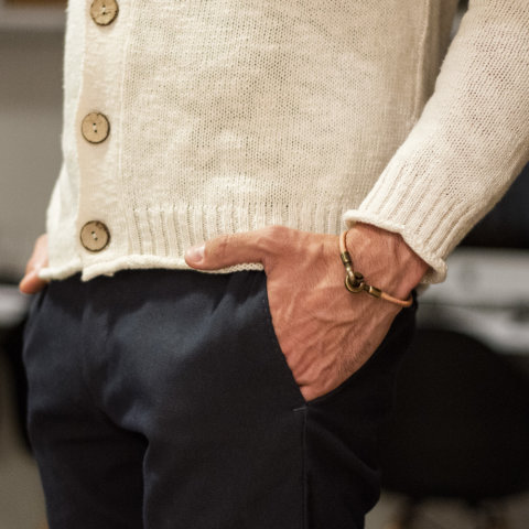 Pulseira Knot Escudero masculina couro natural 2