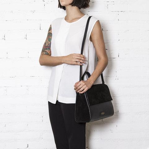 bolsa femininda frida preta de couro da escudero